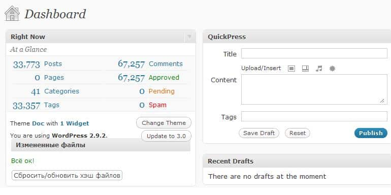 Нагрузка wordpress