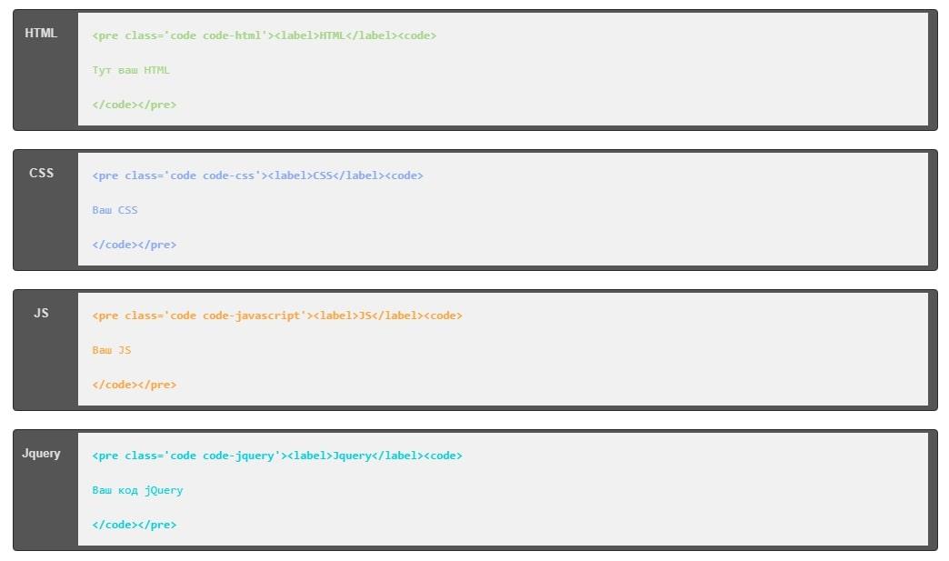 Отображение кода в WordPress